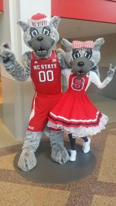 Large male and female wolf mascots costumed in NC State red.