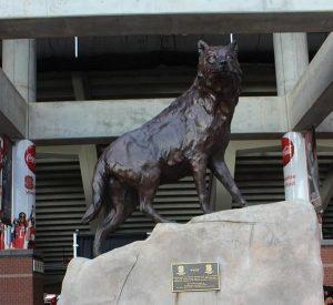 Bronze wolf sculpture standing on a rock